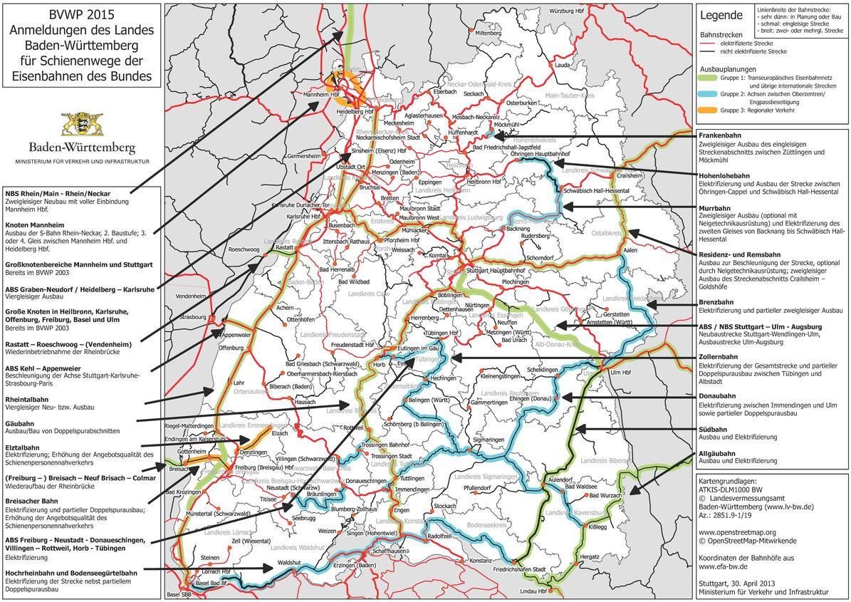 Karlsruhe Karte.Schiene Bvwp Ministerium Für Verkehr Baden Württemberg